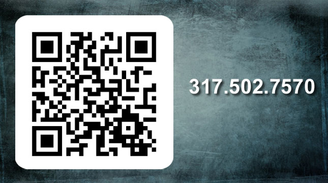Please use the QR code or call 317-502-7570